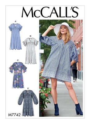 McCall's Sewing Pattern M7742 7742 Misses 16-22 Easy Loose Fitting Dresses