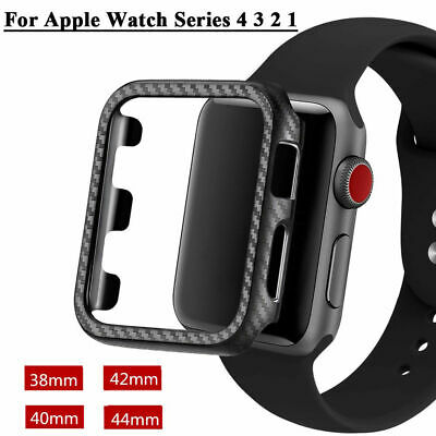 For Apple Watch iWatch Case Ultrathin Carbon Fiber Lines PC Case Series 4321