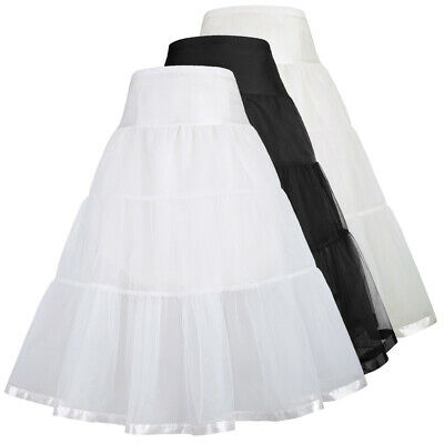 Vintage Petticoat Prom Dress Swing Casual Solid Kids Girl Underskirt Two Layers