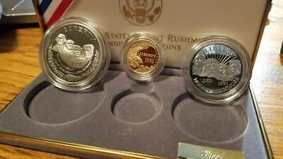 1991 US Mint Mount Rushmore Commemorative 3 Coin Silver & Gold Set
