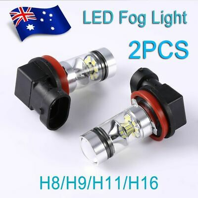 2pcs H8 H9 H11 H16 6000K 100W 20 LED Fog Light Super Bulbs High Brightness AU