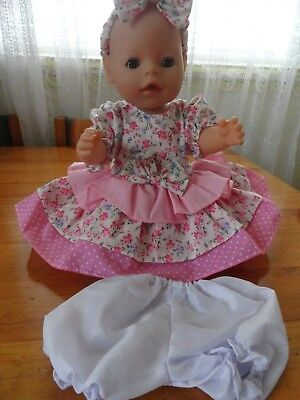 Baby Born Dolls Dress , Pants , Headband  In Pink Flowers