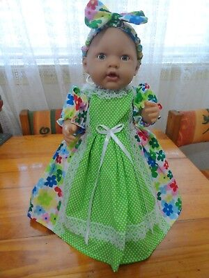 Baby Born Dolls Long Dress & Headband In Multi Flowers With Green White Dots