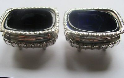 Solid Silver Chester Pair Trencher Salts With Cobalt Liners Victorian Hallmarked