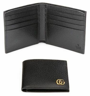 1dc137090844 NEW GUCCI MEN'S Black Leather GG Marmont Plaque Bifold Wallet ...
