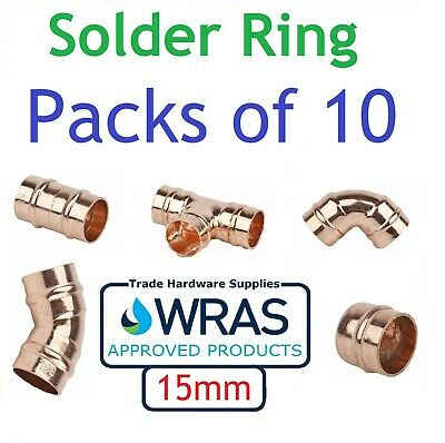 15mm Solder Ring Yorkshire Fittings Copper Straight Coupling Stop End Elbow Tee