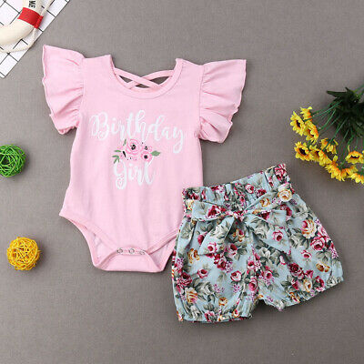 AU Newborn Baby Girl Clothes Ruffle Romper Floral Shorts 2PCS Cotton Outfits Set