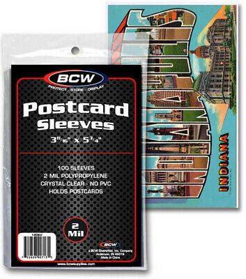 BCW Ultra Thin Postcard Sleeves - Polypropylene - Acid Free Pack of 100