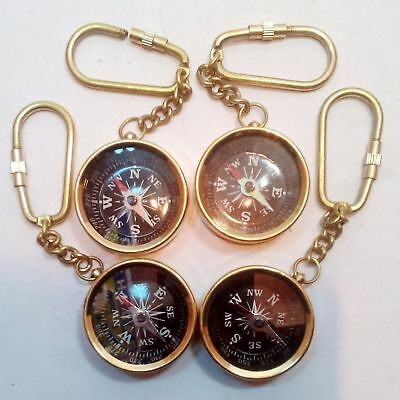 Compass Key Chain Gift Lot Of 4 Pc Nautical Maritime Vintage Style Brass Pocket