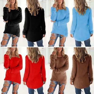 FT- Women Fluffy Sweater Jumper Ladies Casual Long Sleeve Pullover Tops Blouse G