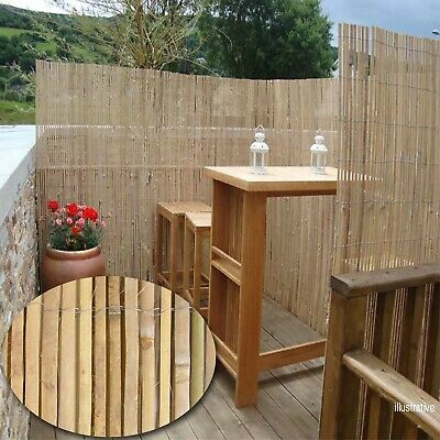 Bamboo Slat Screening Fence Roll Slatted Garden Privacy Decor Penal Outdoor New