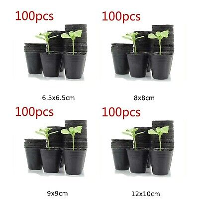 100x/set Garden Black Plastic Thicken Breathable Nutritional Plant Seedling Pots