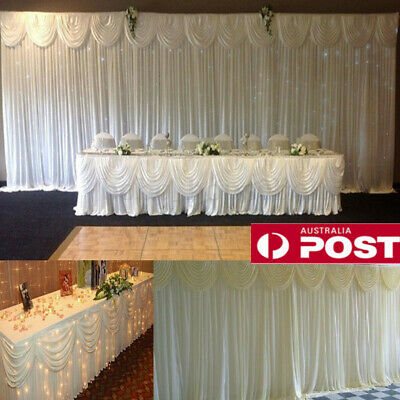 2/3/4M Wedding Stage Backdrop Swag Removable White Photography Curtains Decor AU