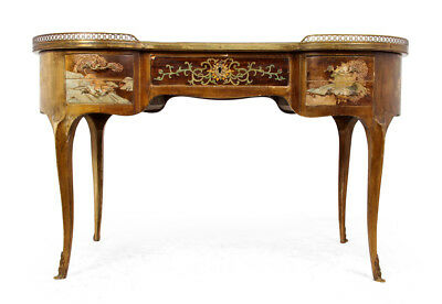 Antique French Chinoiserie Kidney Writing Desk , c1860