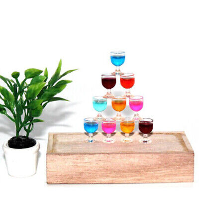Drink Glasses Cup Small MIni Kids Toy Dollhouse Miniature Red Wine Goblet Party