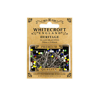 Whitecroft Heritage Glass Head Pins 30mm x 0.60mm 89201