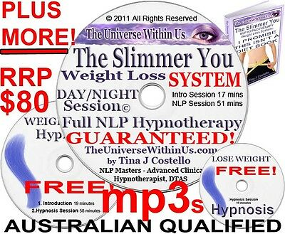 WEIGHT LOSS HYPNOSIS CLINICAL HYPNOTHERAPY MP3 s on CD PACK WEIGHTLOSS SET NLP