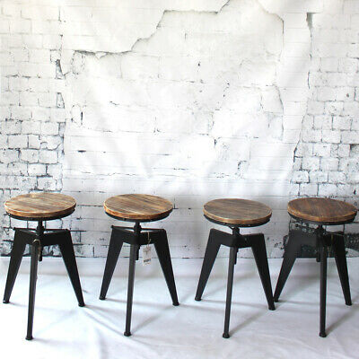 4pcs Industrial Bar Stool Swivel Vintage Counter Pub Dining Chair Wood Seat P3M2