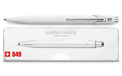 Caran d'Ache 849 POPLINE White Ballpoint Pen 849.502, with holder