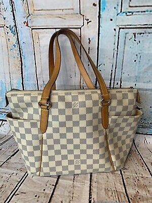 07f9621b8a10 AUTHENTIC LOUIS VUITTON Tote Bag Totally PM Cream Damier Azur ...