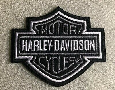 Harley Davidson Classic Silver Logo Patch Sew / Iron On Motorcycle Shield Bike