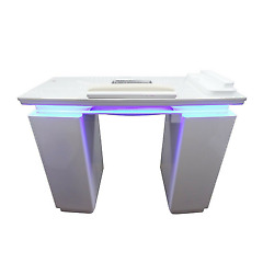 Nail Table Manicure Station White Luxury Marble Top With Extractor Fan, Drawers