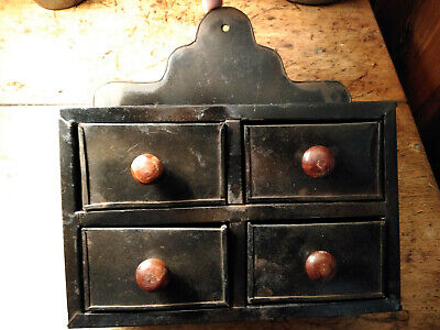 vintage antique tin  metal steel wall box four drawer spice rack