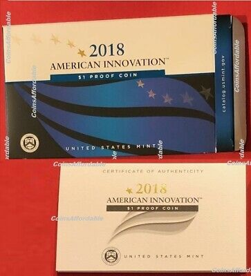 2018 US Mint S American Innovation Proof Dollar $1 OGP SLEEVE+COA ONLY NO Coin