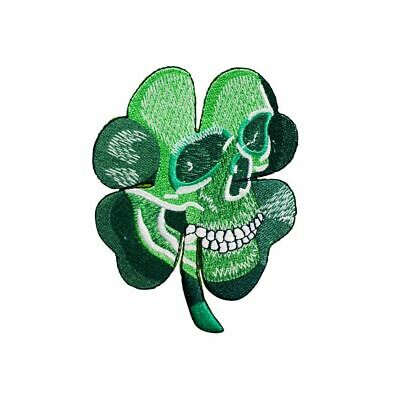 Lucky Clover Skull (Iron on) Embroidery Applique Patch Sew Iron Badge