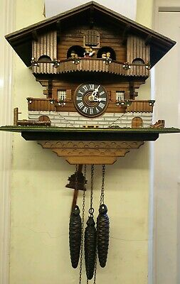Vintage Swiss Chalet Style Weight Driven Musical Cuckoo Clock