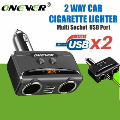 ONEVER 1 à 2 Prise Allume-cigare 3.1A 2USB voiture chargeur adaptateur 12V-24V