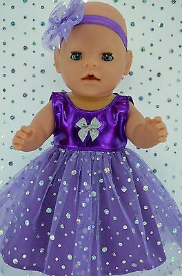 """Play n Wear Doll Clothes To Fit 17"""" Baby Born PURPLE SEQUIN DRESS~HEADBAND"""
