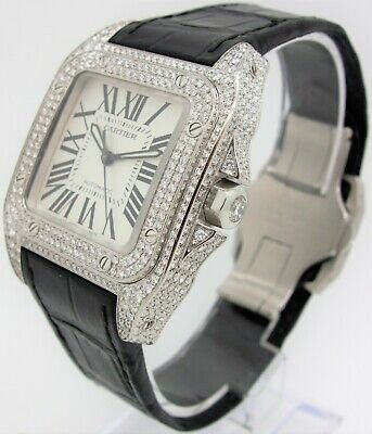 f5dfcc9a832 MENS CUSTOM CARTIER Santos 100 XL Watch with 22 Ct Diamonds Iced Out ...