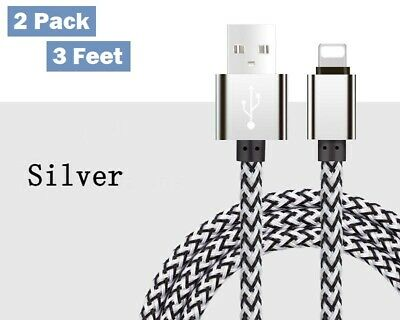 2 Braided Nylon USB Lightening Data Charging Cable for iPhone, iPad & iPod 3ft