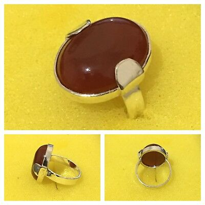 SOLID 925 STERLING Silver Ring - Black Agate (Aqeeq