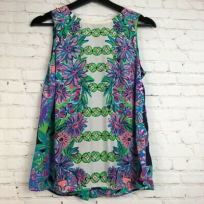 df81a0168154a8 LILLY PULITZER Iona Sleeveles Silk Floral Geometric Blouse Top Sz S ...