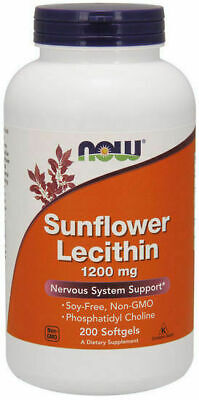 Now Foods Sunflower Lecithin 1200 mg 200 Softgels Soy-Free, Non-GMO