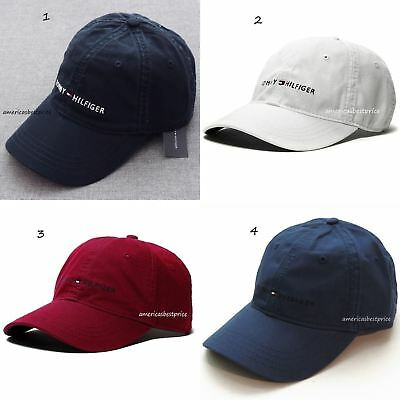 Tommy Hilfiger New Men s Baseball Cap hat Blue Navy White Red Blue Nice Caps 0afbac47268b