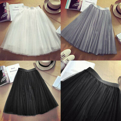 Dress Skirt Dancing Sundress Princess Women Tulle Pleated Wedding Prom Party