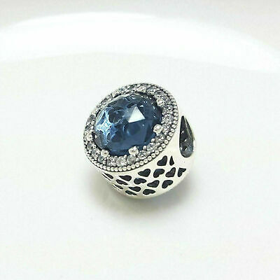 Authentic Pandora Charms 925 ALE Sterling Silver Blue Cubic Zircon Crystal Bead