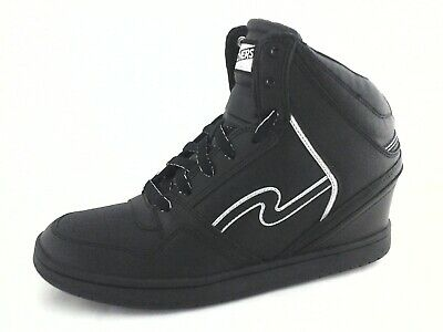 8a6b26b35a29 SKECHERS Shoes Hidden Wedge Sneakers Black Leather Silver Women s US 11 41  New