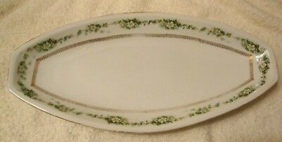 """Antique Three Crown China Germany Celery Dish Green Flower 12-3/4"""" Hand Painted"""