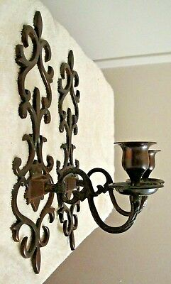 Pair Vintage Solid Brass Bronze Wall Sconce Taper Candlestick Candle Holder
