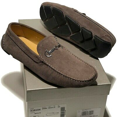 64ef02f3118 Armani Suede Leather Bit Loafers Driver Men s Brown Dress Shoes 11.5 Tan  Grey
