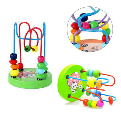 Children Kids Baby Educational Colorful Wooden Mini Around Beads Puzzle Game Toy