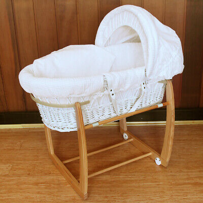 Baby Wicker Bassinet w/Side to Side Rocking Stand & Waffle Bedding 8164N