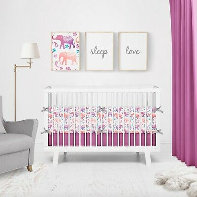 Floral Elephants on White Baby Cot Bumpers