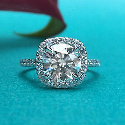 3 ct Round Cut Diamond 14k White Gold Halo Engagement Ring for Women's