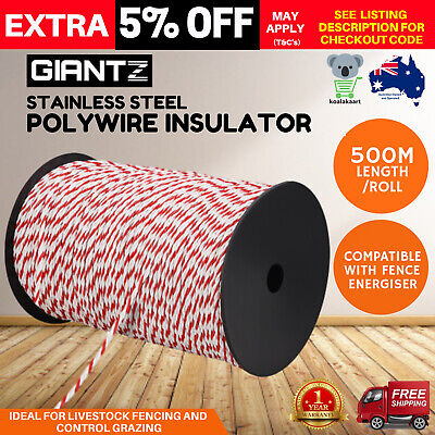 500m Roll Electric Fence Energiser Poly Rope Fencing Farm Supplies