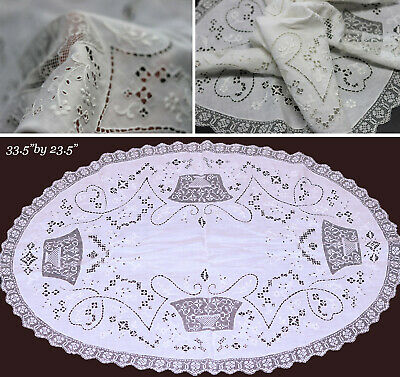 Antique Table Runner Tablecloth Mixed Needle Lace Punto Traffore Italy bridal
